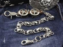 Męska gwiazda z metalu czaszki rowerzysta Trucker Rock portfel łańcuch dżinsy brelok tanie tanio XTOM2013 Stainless Steel