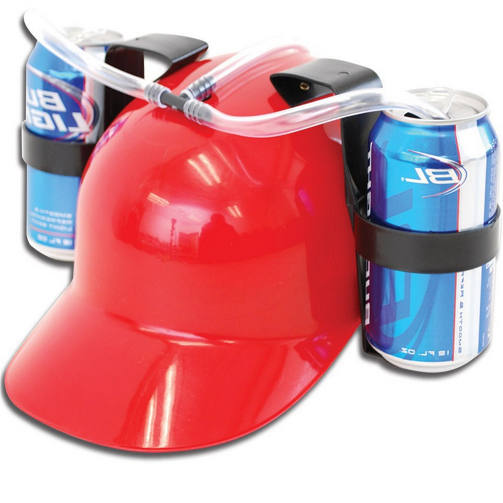 Beverage Helmet Drinking <font><b>Beer</b></font> cola Coke Soda Miner <font><b>Hat</b></font> Lazy lounged Straw Cap Birthday Party Cool Unique Toy Prop Holder Guzzler image