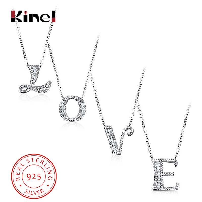 Kinel 2019 New Luxury 925 Sterling Silver 26 Styles English Letters Pendant Necklaces With Cubic Zircon Women Fashion Jewelry in Pendant Necklaces from Jewelry Accessories