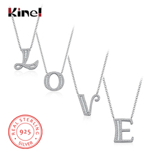 Kinel 2019 New Luxury 925 Sterling Silver 26 Styles English Letters Pendant Necklaces With Cubic Zircon Women Fashion Jewelry