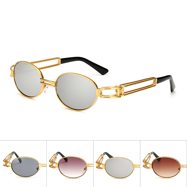 ac553a67c4 2017 Hip Hop Retro Small Round Sunglasses Women Vintage Steampunk Sunglasses  Men Gold sun Glasses for women Frame Eyewear Oculo