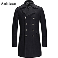 Anbican 2016 Winter Black Wool Coat Men Luxury Brand Double Breasted Long Cashmere Overcoat Mens Slim Fashion Pea Coat XXL XXXL(China)