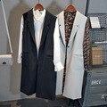 Women Vest 2016 Autumn Long Pockets Turn Down Collar Sleeveless Gray Black Vest Jackets Office Lady colete feminino de inverno