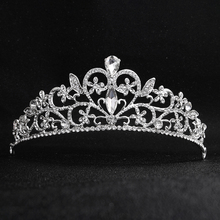 Trendy Crystal Tiaras and Crowns  Alloy Bridal Wedding Accessories Head Crown With Heart For Ladies