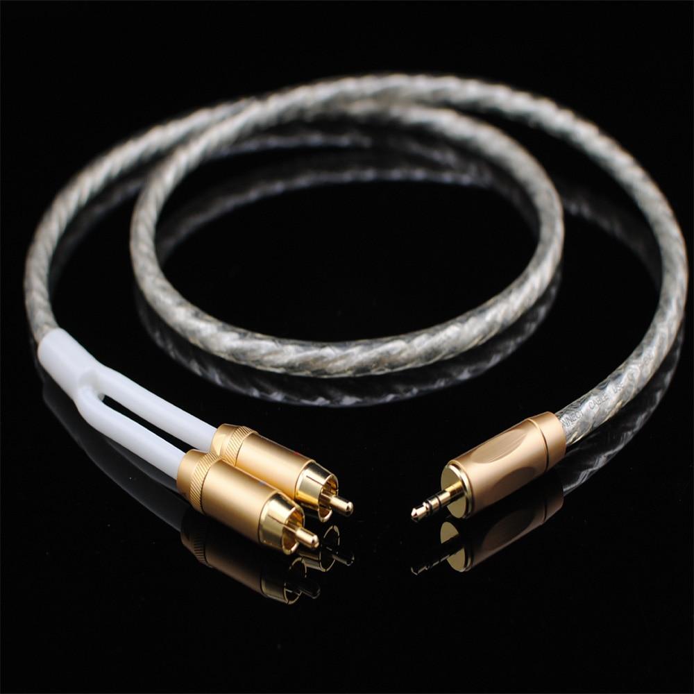 Câble Audio Original MCA stéréo 3.5mm à 2RCA argent plaqué Hi-Fi-pour MP3 CD DVD TV PC câble Audiophile livraison gratuite