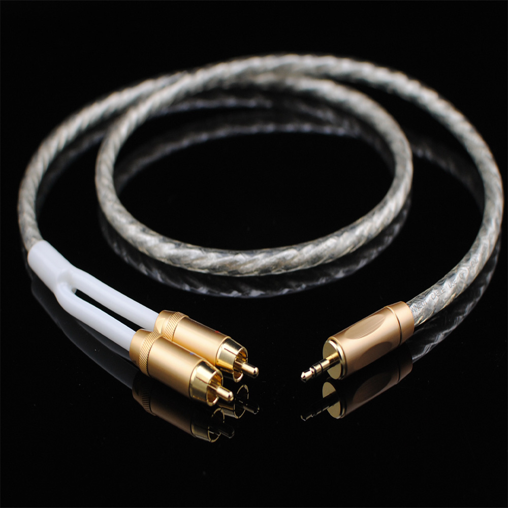 Original MCA Audio cable Stereo 3.5mm to 2RCA Silver Plated Hi-Fi - for MP3 CD DVD TV PC ...