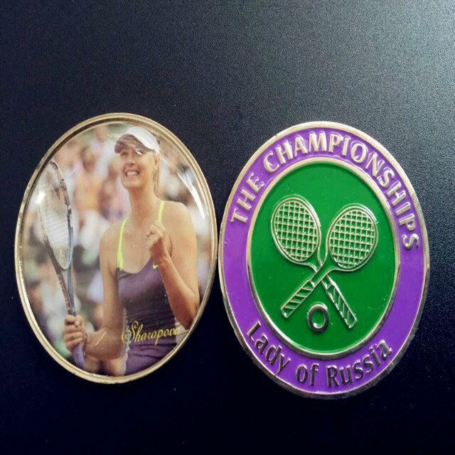 2 pcslot , The lady of Russia sport tennis player Sharapova championship winner silver plated colored souvenir coin