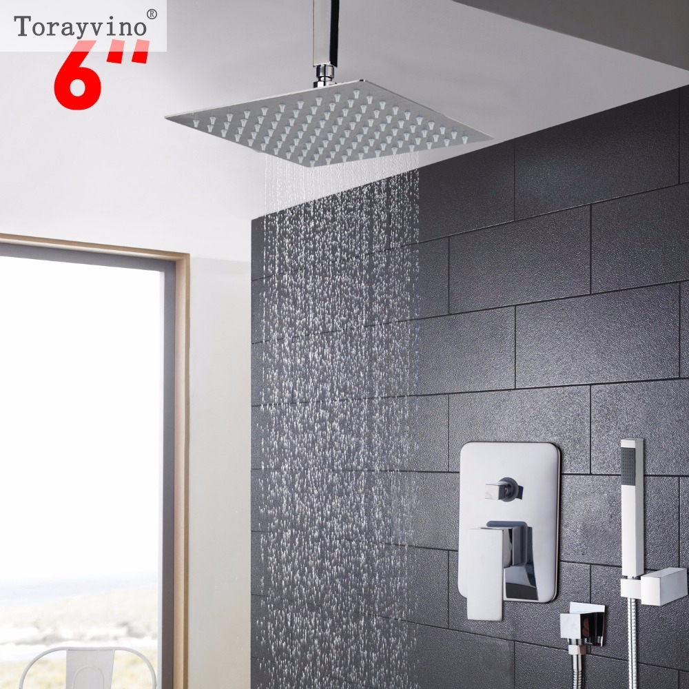 Torayvino Feature and Reasonable in Price 6 inch Bathroom Faucet Rainfall Shower Heads Hot Cold Water Mixer Fine Shower Faucet