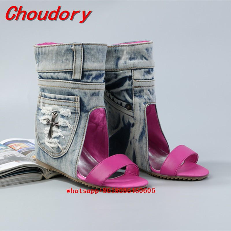 Choudory Western Style Summer Pink Blue Denim Boots For