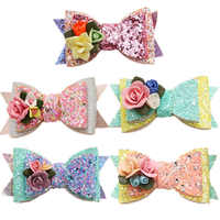 20 pcs/lot , Double layered Sequin Glitter Bow Hair Clips , Kids Girls Hair Accessories, Holiday Party Gift