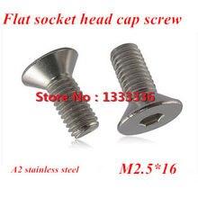 1000 pcs M2.5 * 16 de aço Inoxidável DIN7991 Plana (Rebaixada) Da Unidade de Cabeça Sextavada Soquete Parafuso Parafuso