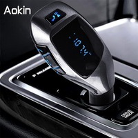 AOKIN New USB Car Charger Wireless Bluetooth Car Handsfree Music Audio Mp3 Player Car Lighter For