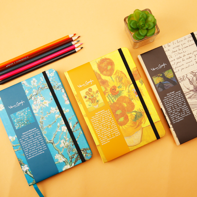 M&G Van Gogh Theme Series Blank Notebook Student Office Notebook 32K APYM3G52 1PCS lenwa classic van gogh series notebook a6 vintage business carry small portable notebook 1pcs