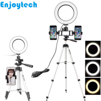New Mini Tripod with Holder Bracket for iPhone Huawei Xiaomi Samsung Phones LED Flash Ring Light for Video Bloggers Selfie Sets