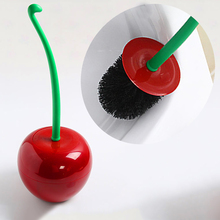 Wine Red Brush Set Plastic Creative Cherry Shape Lavatory Cleaning Toilet Brush With Holder