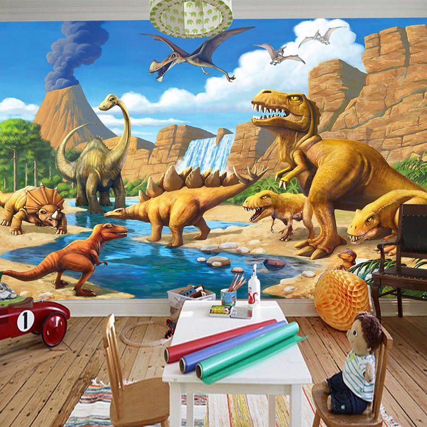 Custom 3D Mural Wallpaper Lakefront Dinosaur Tyrannosaurus Rex Children's Room Bedroom Photography Background 3D Kids Wallpaper