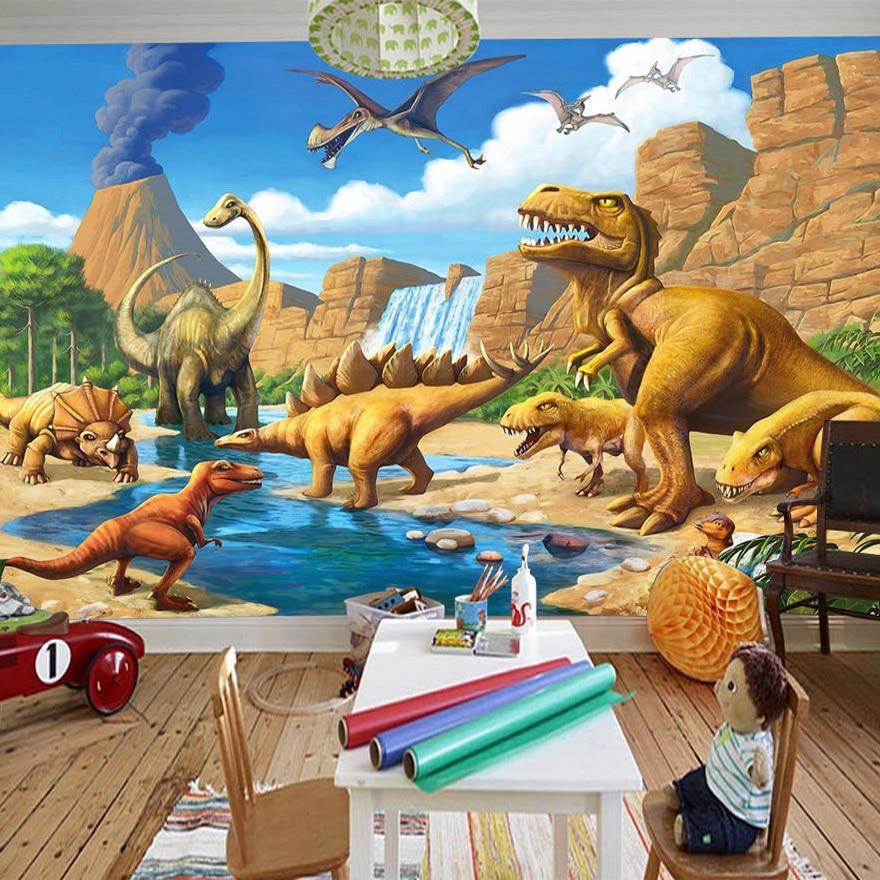 Custom 3D Mural Wallpaper Lakefront Dinosaur Tyrannosaurus Rex Children's Room Bedroom Photography Background 3D Kids Wallpaper