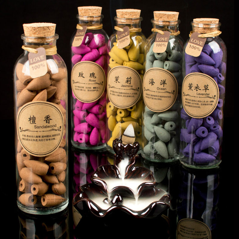 58pcs/can 13 Flavors Backflow Natural Incense Oversized Aroma Aromatic Jasmine Smoke Incense Q Cones Tower Incenses Sandalwood