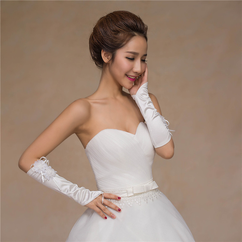 Купить с кэшбэком Free shiping New wedding gloves, bride wedding lace straps, short gloves, wedding gloves