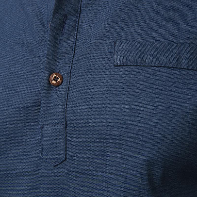 Tunique col Mao bleu marine, manches longues, avec poche, boutons