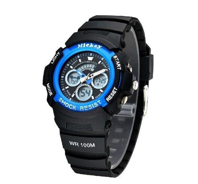 Disney brand Mickey Children 100m waterproof swimming diving Digital Wristwatches boy calendar Alarm clock Luminous Timing clock