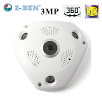 Z BEN 2017 Newset 360 Degree Panoramic Camera 3MP Fisheye Panoramic IP Camera HD 1080P WIFI