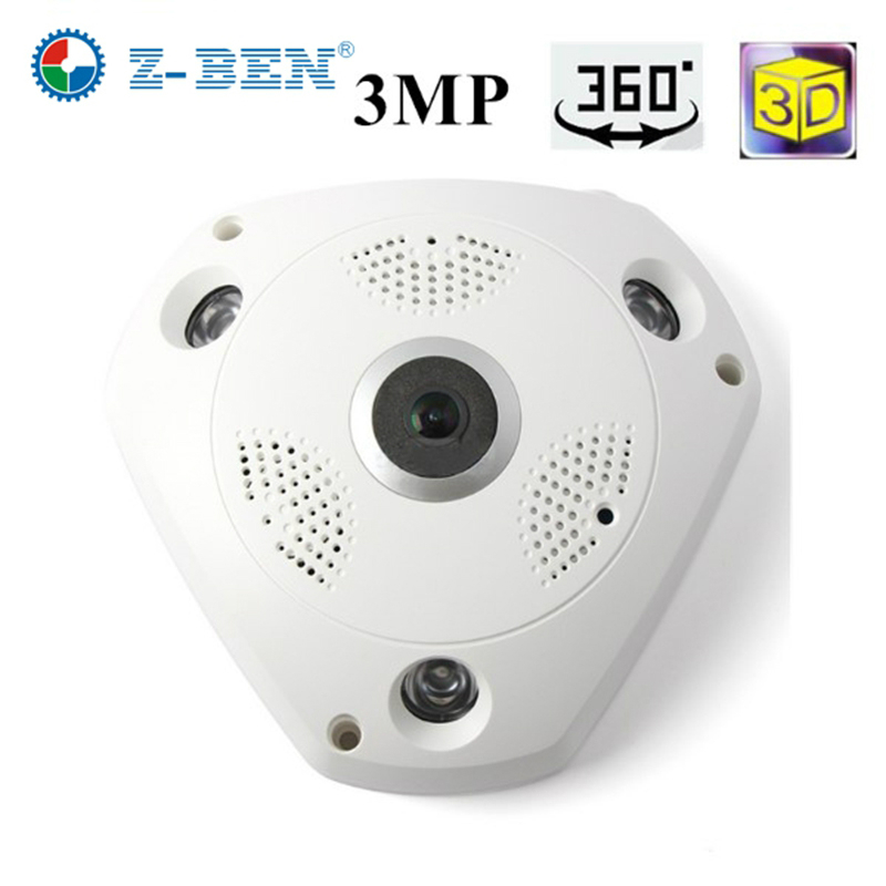 Z-BEN Newest 360 Degree Panoramic Camera 3MP Fisheye Panoramic IP Camera HD 1080P WIFI PTZ CCTV 3D VR Video IP Camera Cam 360 camera 4k ultra hd panoramic action camera 1080p 3d fisheye lens vr camera wifi mini sports video camera deportiva kamera