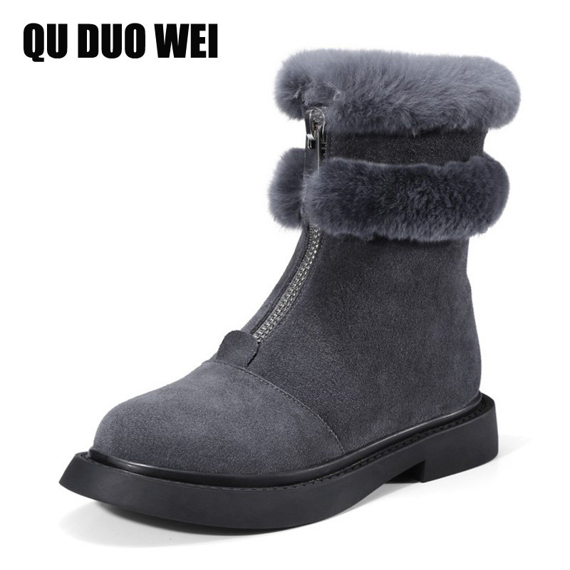 2018 New Genuine Leather Winter Snow Boots For Woman Fashion Zipper Flat Heels Platform Shoes Thick Warm Fur Women Ankle Boots fedonas top quality winter ankle boots women platform high heels genuine leather shoes woman warm plush snow motorcycle boots