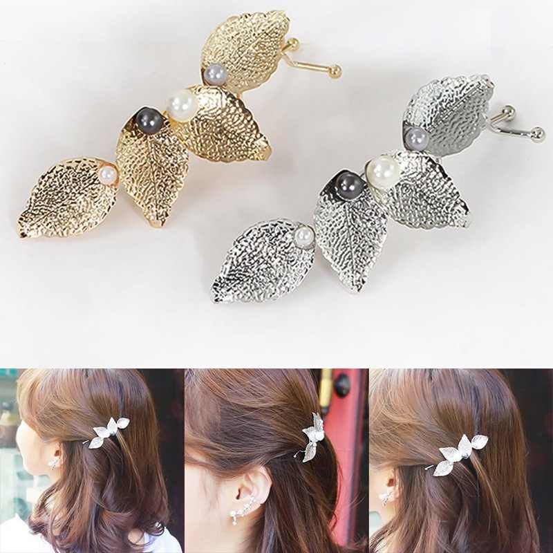 Women Girl Metal Pearl Four Leaves Peal Hair Clip Hair  Pin Barrette Clip Side Hairpin Accessory Retro Hair Style Tools