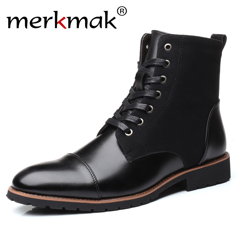merkmak black leather Boots Men Military Boots Waterproof Autumn Winter Shoes Cowboy Casual Boots Male Big Size 35-46 Newest mulinsen newest 2017 autumn winter men