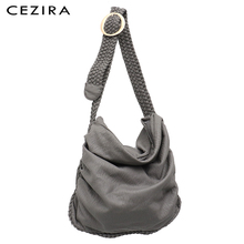 CEZIRA Big Soft Casual Women Bags Girl Wash PU Leather School Handbag Ladies Adjustable Woven Buckle Belt Messenger&Shoulder Bag