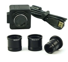 Wholesale Free Drive 5MP HD 1/2.5″ True Color CMOS Microscope USB Digital Camera Video Electronic Eyepiece + C-Mount Adapter Adaptador