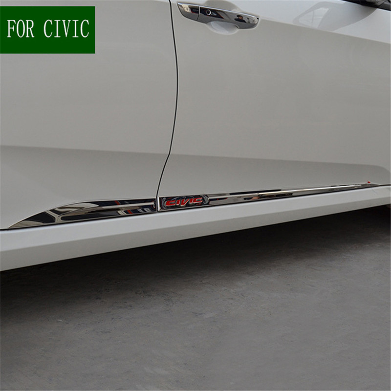 BODY MOLDING DOOR SIDE COVER FOR CIVIC 2016 2017 2018 10TH SEDAN LINE LINING PROTECTOR TRIM ACCENT MOULDING CAR ACCESSORIES 4PCS car styling chrome side door lining body molding garnish line trim cover protector 4pcs for hyundai tucson 2016 2017 2018