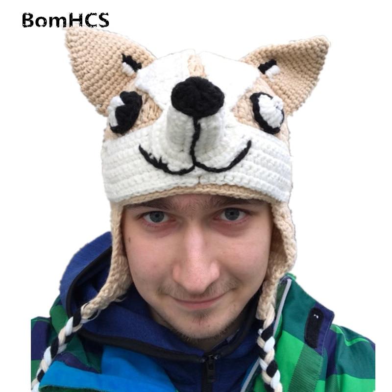 Bomhcs Mode Nette Shiba Beanie Winter Warme 100% Handgemachte Häkeln Stricken Hund Hut