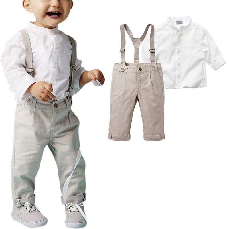 Baby Clothes Kids Boys Wedding Party Suit Tops+Bib Pants Gentleman Outfit Summer