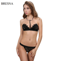 BRESNA Flowers Embroidery Bra Ultra Thin Set Underwear Strappy Bra Halter Bralette Mesh Sexy Unlined Lingerie