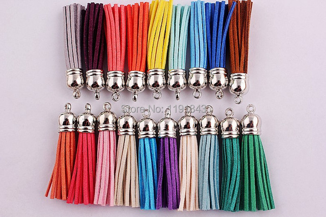 Kwoi vita Free shipping silver color 59mm Charms Tassels Style mixed Color Assorted Pendants100pcs/lot for kids necklace making