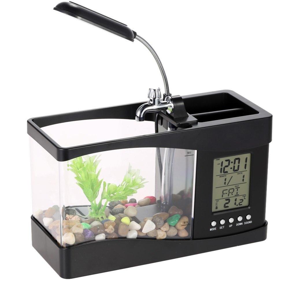 Mini Aquarium électronique de bureau Usb Mini Aquarium avec pompe à LED en cours d'exécution horloge calendrier lumière blanc noir - 5