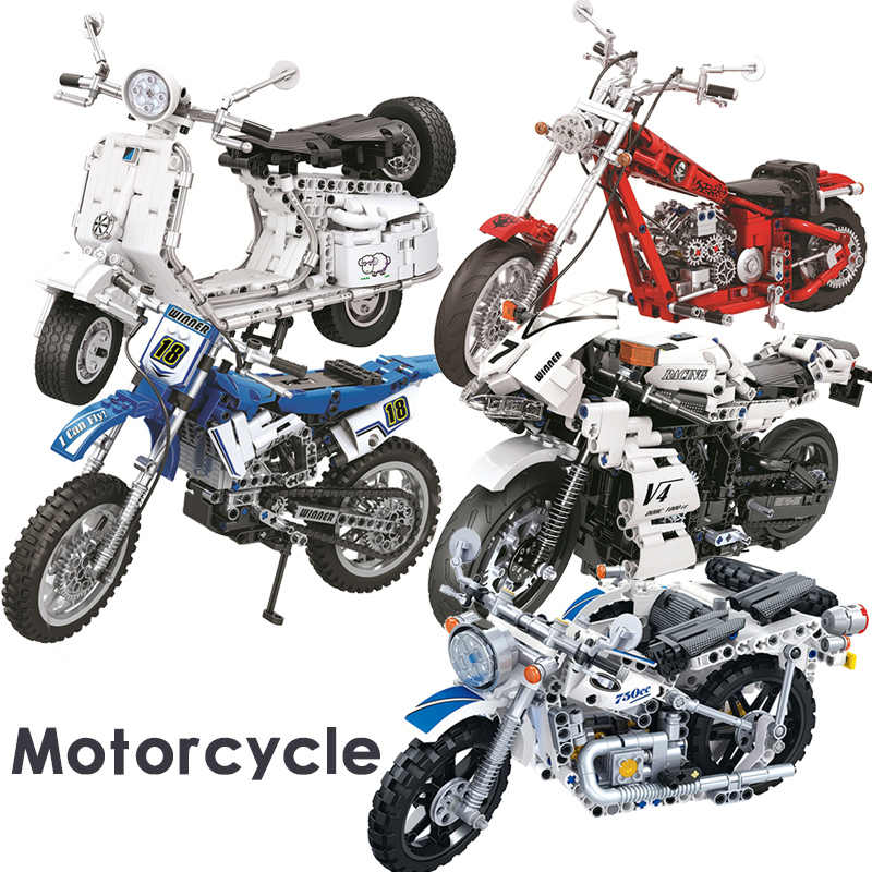 MOC Creator Technic Tractor Motorcycle Car truck Compatible legoingly Technician Building blocks Parts Bricks Toys For Children