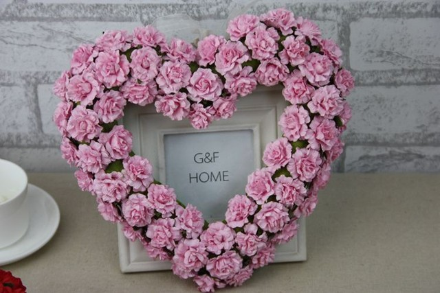 Artificial Paper Rose Flower Door Wreaths Heart Shaped Wedding Decoration Car