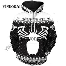 Fans Made Venom Spiderman 3D Printed Hoodies Captain America Chrismas Cosplay for Men Sweatshirt Marvel Deadpool Movie