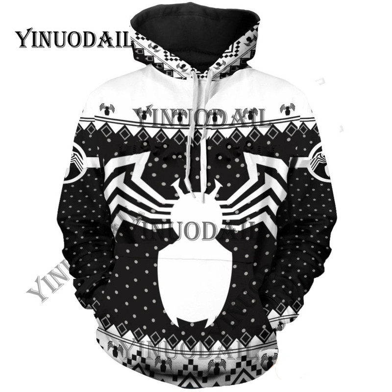Fans fait Venom Spiderman 3D sweats à capuche imprimés Captain America Cosplay de noël pour hommes sweat pour Marvel Deadpool Fans de films