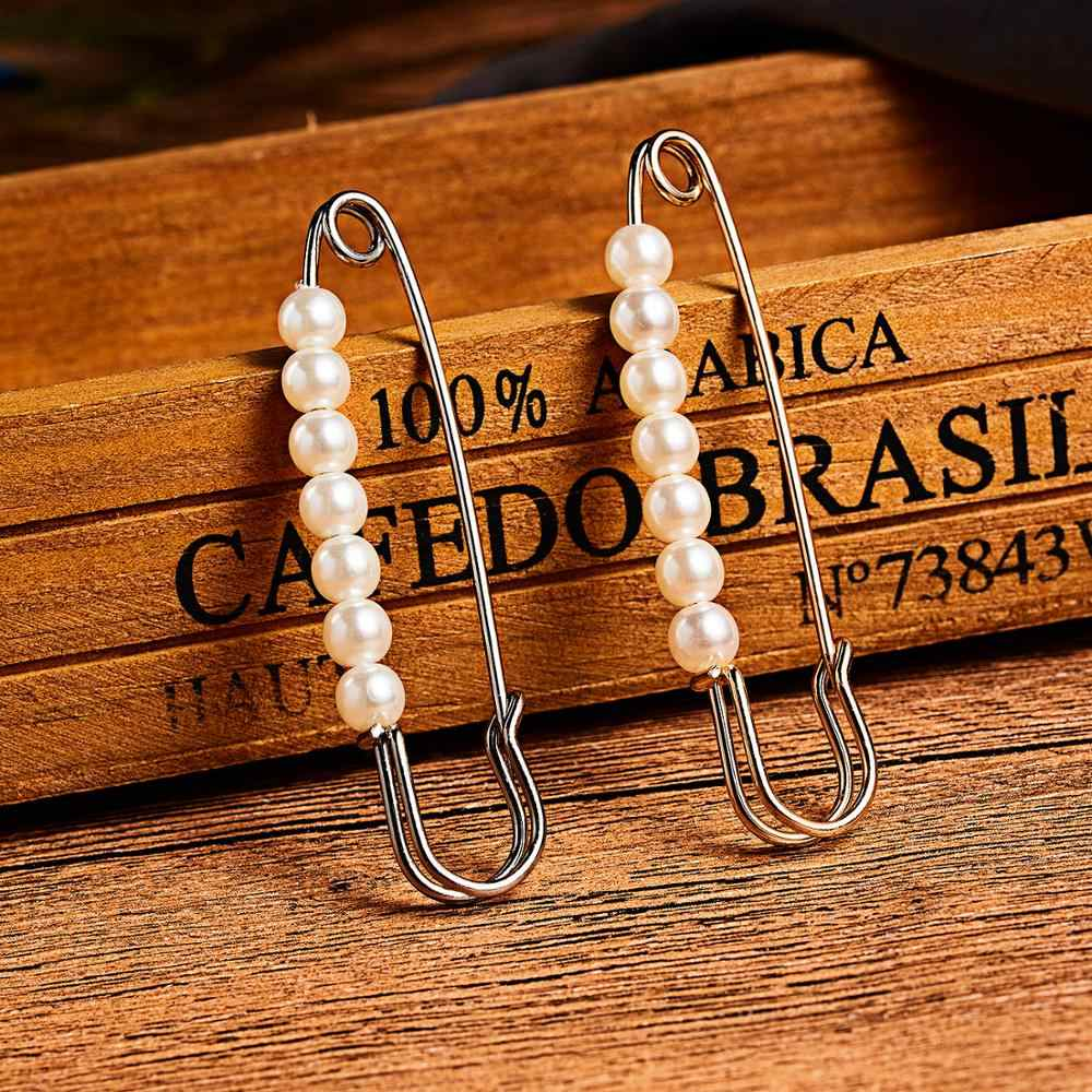 Ouro Branco coreano Elegante 7 Pequeno Pino Grande Broche de Pérolas para As Mulheres Cachecol Vestindo Straps Fixa Pin Broche Diária Charme jóias