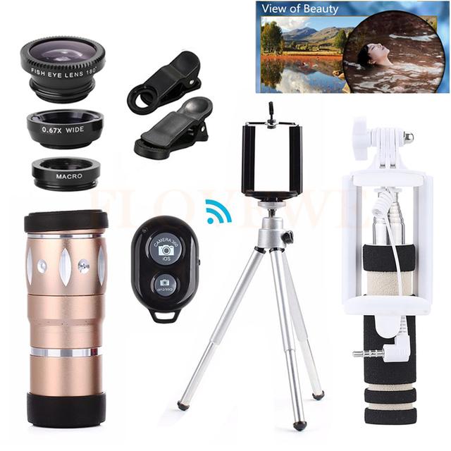 Lente do telefone Fisheye Lentes de 10X de Zoom Telefoto Telescópio Tripé Titular 10in1 lentes macro wide angle microscópio para iphone 7 6 5 s