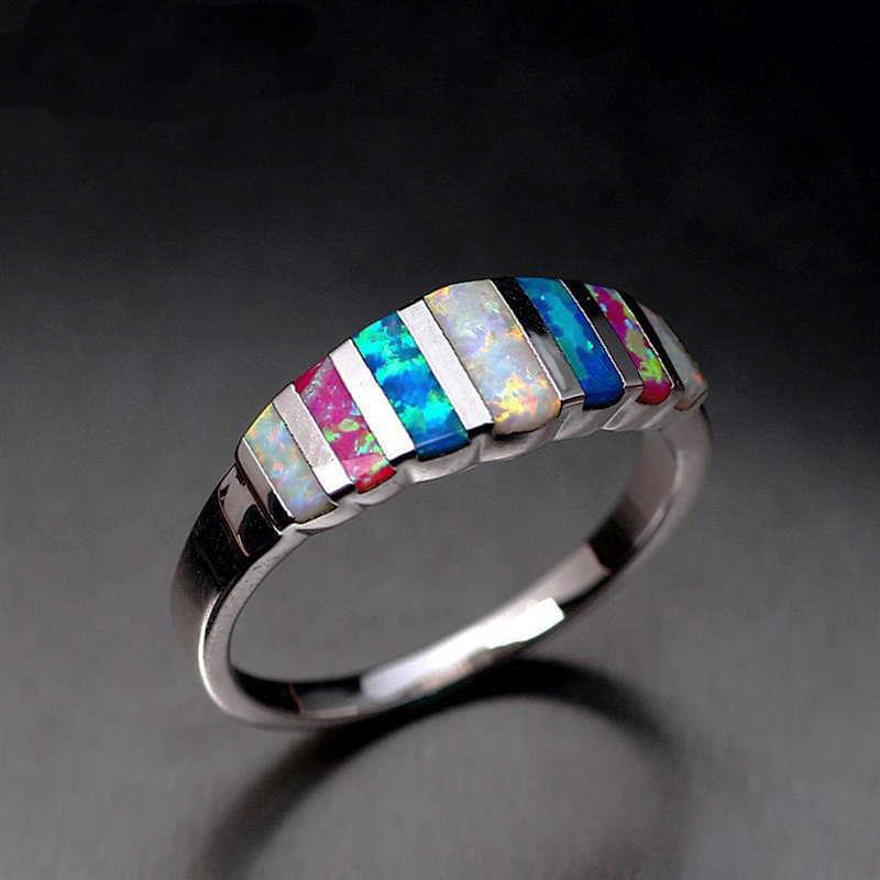New Design Colorful Enamel Silver Ring Fashion Jewelry Women Silver Color Rainbow Finger Ring Female Party Gift Size 7-12