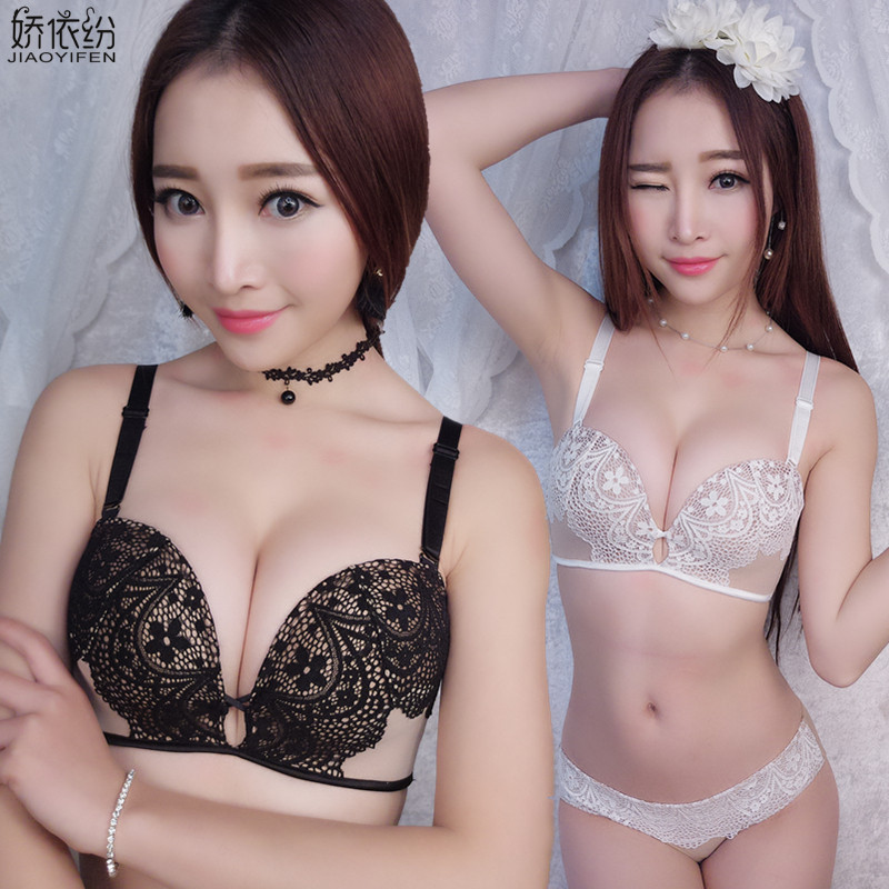 JYF Brand Women New Underwear   Set   Sexy Seamless Wire Free Lace   Bra     Set   Young Girl Sexy Lingerie Deep V Push Up   Bra     Sets