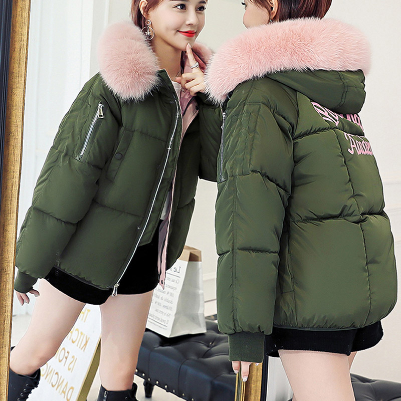 N.XINZHE Winter Jacket Women parkas for Coat Fashion Print Female Down Jacket With Hood Large Faux Fur Collar Bomber Jacket Coat