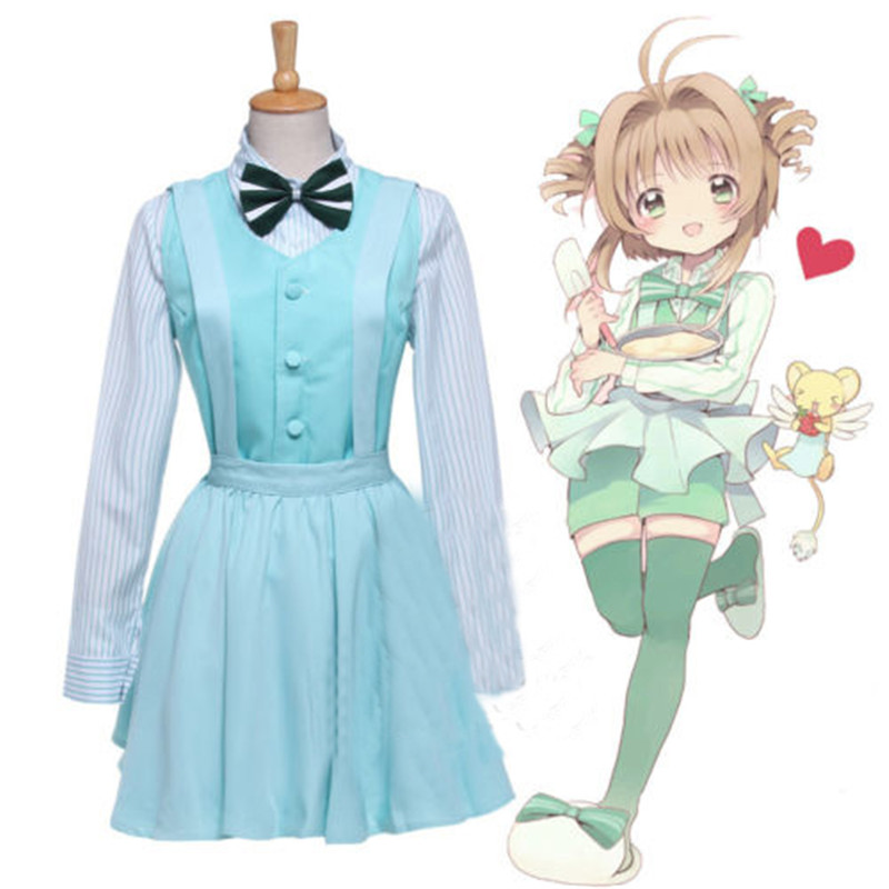 Cute Anime Cardcaptor Sakura Daidouji Tomoyo KINOMOTO SAKURA Cosplay Costume woman dress