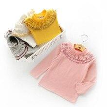 Funfeliz Girls Sweaters Autumn Winter Children Sweater Cute Ruffle Turtleneck for Girl Cardigan Kids T-shirt Long Sleeve