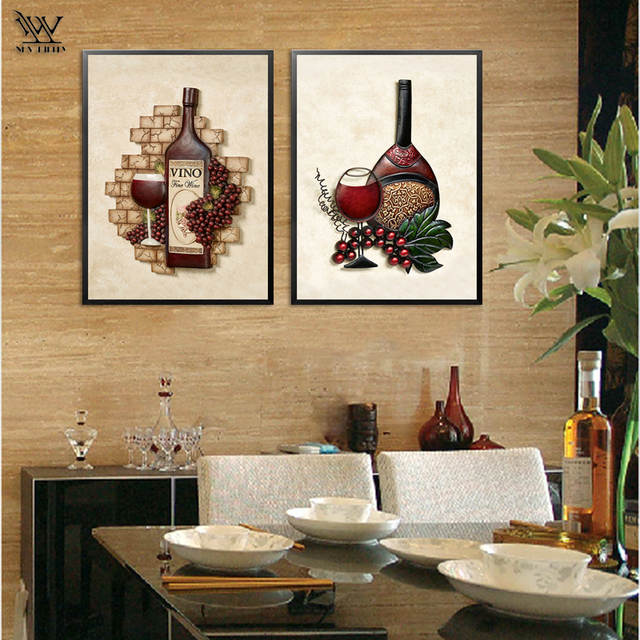 Online Shop NEWBILITY Retro Vintage Wine Painting Coffee House Wall Posters Pastoral Canvas Art Prints Nostalgic Dining Room Decoration Bar
